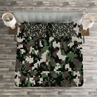 Camo Quilted Bedspread & Pillow Shams Set, Pixelated Digital Abstract Print