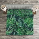 Leaf Quilted Bedspread & Pillow Shams Set, Watercolored Forest Leaves Print image