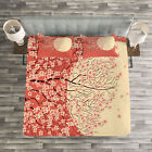 Japanese Quilted Bedspread & Pillow Shams Set, Cherry Sakura Blossoms Print image