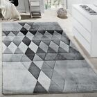 Designer Rug Modern Elegant Rugs Grey Diamonds Stylish Carpet Soft Pile Mats New