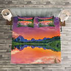 Nature Quilted Bedspread & Pillow Shams Set, Sunset Reflection River Print image
