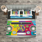 Colorful Quilted Bedspread & Pillow Shams Set, Hippie Van Vacation Print image