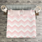 Pink Quilted Bedspread & Pillow Shams Set, Zigzag Chevron...