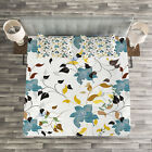 Nature Quilted Bedspread & Pillow Shams Set, Colorful Flowers Leaf Print image
