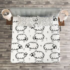 Animal Quilted Bedspread & Pillow Shams Set, Funny Sheeps on a Meadow Print image