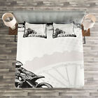 Inspirational Quilted Bedspread & Pillow Shams Set, Motocross Racer Print image