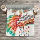 Native American Quilted Bedspread & Pillow Shams Set, Tribe Chief Print image