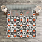 Black Quilted Bedspread & Pillow Shams Set, Abstract Retro Spirals Print image