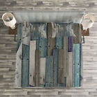 Rustic Quilted Bedspread & Pillow Shams Set, Blue Grey Planks Grunge Print image