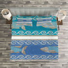 Mosaic Quilted Bedspread & Pillow Shams Set, Marine Style Pattern Print image