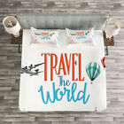 Quote Quilted Bedspread & Pillow Shams Set, Travel World Lettering Print image
