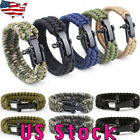 US Outdoor Survival Paracord Rope Camping Hiking Emergency Bracelet Wristband