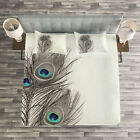 Peacock Quilted Bedspread & Pillow Shams Set, Feathers of Exotic Bird Print