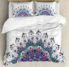 Colorful Duvet Cover Set with Pillow Shams Exotic Wild Peacock Print