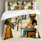 Egyptian Duvet Cover Set with Pillow Shams Old Egyptian Papyrus Print image