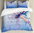 Colorful Duvet Cover Set with Pillow Shams Abstract Dragonfly Print image