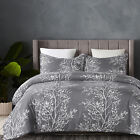 Lightweight Microfiber Duvet Cover Set Printed Branch Pattern Grey Queen