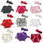 Newborn Infant Baby Solid Color Romantic Rose Bloomer Pantie 3PC Set 6m-3Year