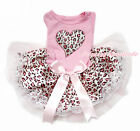 Pink Leopard Heart Sleeveless Lace Bow Skirt Pet Dog One Piece Dress Outfit