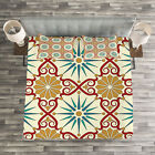 Classic Quilted Bedspread & Pillow Shams Set, Sacred Geometric Forms Print image