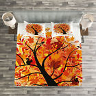Fall Quilted Bedspread & Pillow Shams Set, Cartoon Tree Artful Leaves Print image