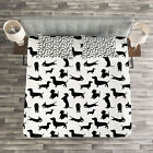 Dog Lover Quilted Bedspread & Pillow Shams Set, Monochorme Canine Print