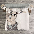 Animal Quilted Bedspread & Pillow Shams Set, Llama with Glasses Scarf Print image