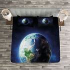 World Quilted Bedspread & Pillow Shams Set, Calm Starry Outer Space Print image