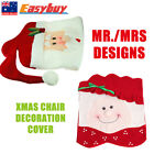 1x Xmas Mr&Mrs Santa Claus Red Hat Chair Back Cover Kitchen Dinner Decor Gift AU