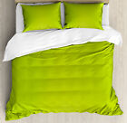Lime Green Duvet Cover Set with Pillow Shams Blurry Pastel Colors Print