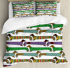 Dog Lover Duvet Cover Set with Pillow Shams Dachshunds in Clothes Print