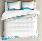 Ocean Duvet Cover Set with Pillow Shams Dolphins Sea Waves Drops Print