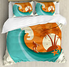 Ride The Wave Duvet Cover Set with Pillow Shams Retro Man Surfing Print