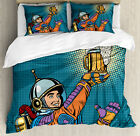 Astronaut Duvet Cover Set with Pillow Shams Astronaut Holds Beer Print