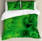 Lime Green Duvet Cover Set with Pillow Shams Vibrant Psychedelic Print