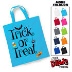 Trick Or Treat Icons Tote Bag - Halloween Sweets Sack Girls Boys Cute Bat Spider