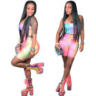 Women Tie-dye printed reflective crop strapless Top+high waist shorts set GL6057