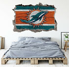 Miami Dolphins Wall Art Decal 3D Smashed Football Kids Bedroom Wall Decor WL153 on eBay