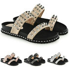 Ladies Womens Flat Sliders Studded Slip On Mule Summer Hoilday Sandals Shoes Sz