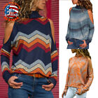 Women's Printing Pullover High Neck Cold Shoulder Knitted Tops Blouse T-shirt US