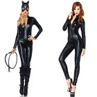 Sexy Catwoman Mask Costume Black Vinly Faux Leather Wet Look Zipper Catsuit