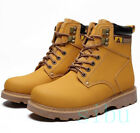Men's High Top PU Leather Work Shoes Ankle Lace Up Slip Resistant Casual Outdoor