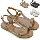 Womens Flat Strappy Espadrilles Sandals Ladies Studded Summer Platform Shoes 3-8