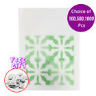 3x4.25in White Non-Woven Open Top Pouch Bag w/Green Color Pattern & Desiccant G1