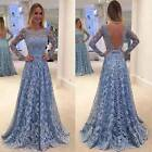 UK Women Party Formal Lace Dress Prom Evening Gown Bridesmaid Wedding Long Dress