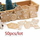 Внешний вид - 50PCS Christmas Kraft Paper Gift Tag Party Hang Label Crafts Xmas Tree Ornament