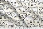Cat Dog Snake Bird Drawing Black White Fabric Printed by Spoonflower BTY