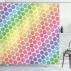 Colorful Shower Curtain Eternal Shapes Retro Print for Bathroom