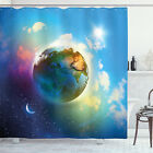 Space Shower Curtain Cosmos Vibrant Scenery Print for Bathroom