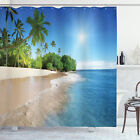 Tropic Shower Curtain Ocean Palm Trees Scenery Print for Bathroom